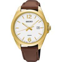 Relógio Seiko Masculino Sur216B1 B2Nx Pulseira Couro Marrom E Caixa Aço Dourada Mostrador Branco