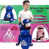Kit Boxe E Muay Thai Infantil Fred Hard - Saco + C - Unissex