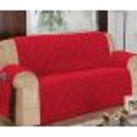 Protetor Para Sofá De 03 Lugares Com Assento De 1,90M Matelado Microfibra Lú Vermelho