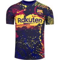 Camisa Pré-Jogo Barcelona Ii 19/20 Nike - Masculina - Azul Esc/Amarelo