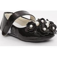 Sapato Boneca Envernizado Com Laã§O & Pã©Rolas - Preto & Btico Baby