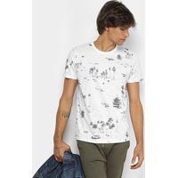 Camiseta Colcci Estampa Tropical Masculina - Masculino-Branco+Preto