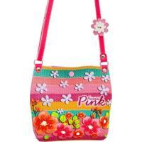 Bolsa Infantil Princesa Pink Estampa De Tricô Colorida Com Flores - Feminino-Rosa