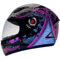 Capacete Mixs Helmets Fokker Racing Girls - Preto/Rosa