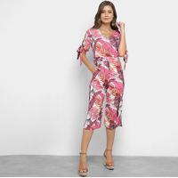 Macacão Lily Fashion Folhagem Feminino - Feminino-Rosa