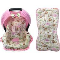 Conjunto Capa De Bebê Conforto E Capa De Carrinho Safari Alan Pierre Baby 0 A 13 Kg Rosa Novo