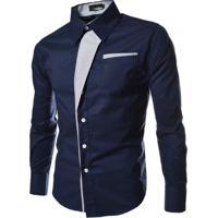 Camisa Estilo Slim Fit Detalhe - Azul Escuro