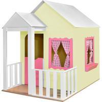 Casinha De Brinquedo Criança Feliz Com Cercado Amarelo/Rosa