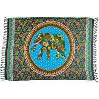Canga Shopping Bali Mandala Elefante Cashmere - Feminino-Azul Claro