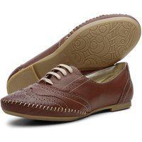 Sapato Oxford Casual Conforto Em Couro 15360 Chocolate