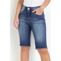Bermuda Ciclista Eventual Barra Desfiada Jeans