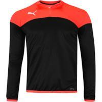 Camisa Manga Longa Puma Play 1/4 Zip - Masculina - Preto/Vermelho
