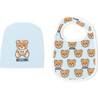 Moschino Kids Logo Bear Bib And Hat Set - Azul