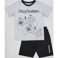Pijama Infantil Playstation Manga Curta Cinza Mescla Claro