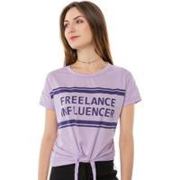 Blusa T-Shirt Freelance Influencer Com Amarração Pop Me Feminina - Feminino-Lilás