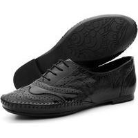 Sapato Oxford Feminino Casual Em Couro Q&A Calçados Preto