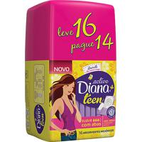 Absorvente Diana Active Teen Suave Com Abas Leve 16 Pague 14
