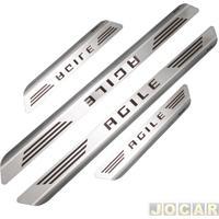 Aplique Da Soleira - Mult - Agile 2009 Em Diante 4 Portas - Aço Inox Escovado Auto Colante - Jogo - 11311