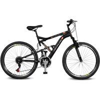 Bicicleta Kyklos Aro 26 Caballu 7.8 Suspensáo Full Baixa A-36 21V Preto/Laranja - Tricae