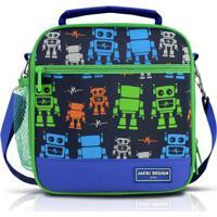 Lancheira Térmica Infantil Jacki Design Robô Microfibra Masculino - Masculino-Marinho+Verde