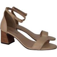 Sandália Couro Sapatos E Botas Fivela Feminino - Feminino-Caramelo