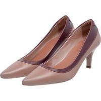 Sapato Scarpin Em Couro Miuzzi Ref: 3803 Taupe E Vinho