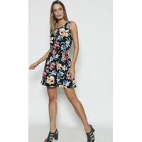 Vestido Floral Com Colar Removível- Preto & Vermelhobhl