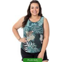 Blusa De Estampa Animal Print Verde