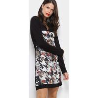 Vestido Carmim Estampado Recorte - Feminino-Preto