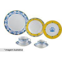 Aparelho De Jantar Amalfi- Azul & Amarelo- 42Pçswolff