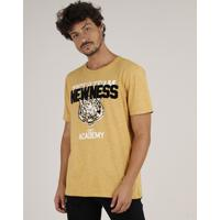 "Camiseta Masculina Listrada Tigre ""Newness"" Manga Curta Gola Careca Mostarda"