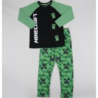 Pijama Infantil Minecraft Manga Longa Preto