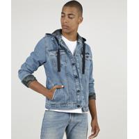 Jaqueta Jeans Masculina Trucker Com Bolsos E Capuz Removível Azul Médio