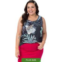 Blusa De Estampa Animal Print Azul