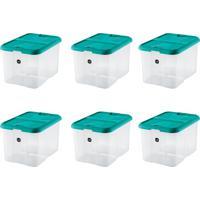 Kit Com 6 Caixas Organizadoras Plus Verde-Água 40 L