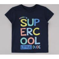 "Camiseta Infantil ""Super Cool"" Manga Curta Azul Marinho"