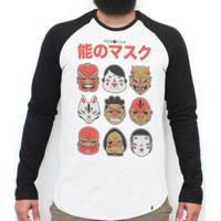No Mask - Camiseta Raglan Manga Longa Masculina
