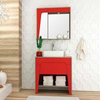Conjunto Para Banheiro Elisa Ii Taeda E Vermelho