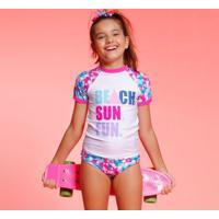 "Blusa ""Beach Sun Fun""- Branca & Pinkpuket"