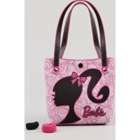 Bolsa Infantil Barbie + Elásticos De Cabelo Rosa - Único