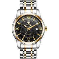 Relógio Tevise T805A Calendar Masculino Automático Pulseira De Aço Inoxidável - Preto E Dourado