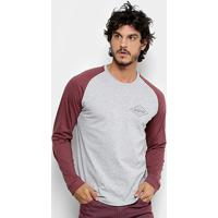 Camiseta Quiksilver Especial Manga Longa Search Masculina - Masculino-Vinho