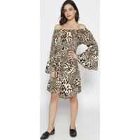 Vestido Ciganinha Animal Print- Marrom & Preto- Blesbless