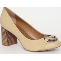 Sapato Aviamento Metalizado- Bege Claro- Salto: 7,5Cmorena Rosa
