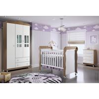 Dormitório Guar. Roupa Ariel 3Pts / Cômoda Ariel 4Gav E Berço Mirelle Amadeirado