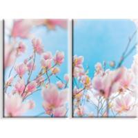 Kit 2 Telas Canvas Flores Rosas Grande