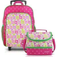 Conjunto Infantil Jacki Design Sapeka Mochilas De Rodinhas E Térmica Feminina - Feminino-Pink