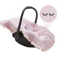 Capa Para Beb㪠Conforto Olhinhos- Rosa Claro & Branca