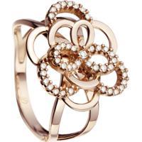 Anel Begônia Ouro Rosé E Diamantes