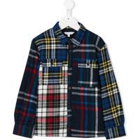 Little Marc Jacobs Camisa Xadrez Com Patchwork - Azul